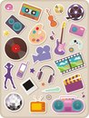 Set of entertainment stickers Stock Photos