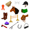 Set of equestrian and grooming icons Royalty Free Stock Photo
