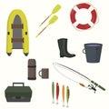 Set of equipment for fishing.