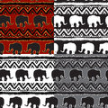 Set of Ethnic Seamless Pattern with elephants