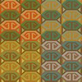 Set of ethno patterns four geometrical seamless in different color combinations Stock Photography