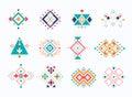 Set of ethno tribal aztec symbols. colorful geometric ethnic decor elements collection.