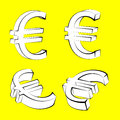Set of euro currency icons on yellow backgroun designs background Royalty Free Stock Image