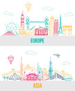 Set of Europe and Asia travel background with Royalty Free Stock Photo