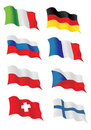 Set of european flags Royalty Free Stock Photography