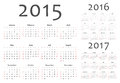 Set of european 2015, 2016, 2017 year vector calendars Royalty Free Stock Photo