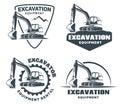Set of excavator logo. Royalty Free Stock Photo