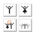 Set of excited spirited girl boy in love vector icons this also represents concepts like happiness excitement joy celebration Royalty Free Stock Image