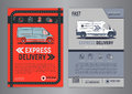 Set of Express delivery service brochure flyer design layout template.