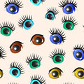 Set eyes different colors seamless Stock Images