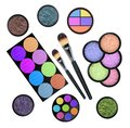 Set of eyeshadows and brushes isolated on white background Royalty Free Stock Photos