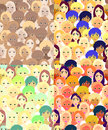 Set faces of women, girls bright. seamless vector illustration Royalty Free Stock Photo