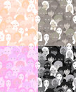 Set faces of women, girls graphics light. seamless vector illust Royalty Free Stock Photo