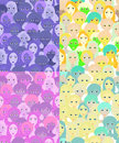 Set faces of women, girls purple. seamless vector illustration Royalty Free Stock Photo