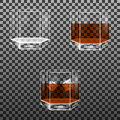 Set of faceted glass with whisky and ice cubes