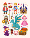 Set of fairy tale element icons cartoon vector illustration Royalty Free Stock Photography