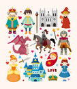 Set of fairy tale element icons cartoon vector illustration Royalty Free Stock Image