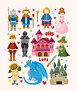 Set of fairy tale element icons cartoon vector illustration Stock Photo