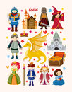 Set of fairy tale element icons cartoon vector illustration Stock Photography