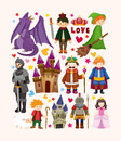 Set of fairy tale element icons cartoon vector illustration Royalty Free Stock Photos
