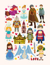 Set of fairy tale element icons cartoon vector illustration Royalty Free Stock Photo