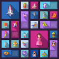 Set of fairy tales flat design magic icons and Royalty Free Stock Photo