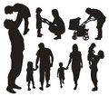 Set of family silhouettes. Royalty Free Stock Photos