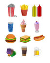 Set of fancy fast food icons isolated on white Royalty Free Stock Photos