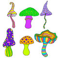 Set of fantastic, psychedelic, decorative mushrooms on a white
