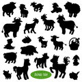 Set of farm animal silhouettes Royalty Free Stock Photo