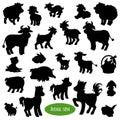 Set of farm animal silhouettes Royalty Free Stock Photo