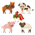 Set of farm animals Royalty Free Stock Photos