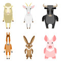 Set of farm animals vector illustration sheep goat ox horse rabbit pig Stock Images