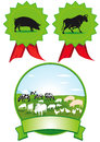 Set of farm labels and rosettes with different animals white background Stock Images