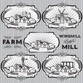 Set of farm mill windmill rural landscape vector labels for Royalty Free Stock Photo