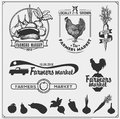 Set of farmers market emblems, logos and labels. Vector illustration. Royalty Free Stock Photo