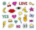 Set of fashion patches. Different badges and pins. Hearts, lips, cherry, banana, eye, key, lollipop, hashtags and