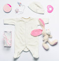Set of fashion trendy stuff and toys for newborn baby girl in so Royalty Free Stock Photo