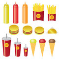 Set of fast food. Royalty Free Stock Image