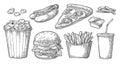 Set fast food. Glass of cola, hamburger, pizza, hotdog, fries potato in paper box, carton bucket full popcorn Royalty Free Stock Photo