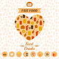 Set Of Fast Food Icons, Backgr...