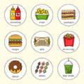 Set of fast food icons. Drinks, snacks and sweets. Colorful outlined icon collection.