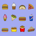 Set of fast food icons. Drinks, snacks and sweets. Colorful outlined icon collection. Vector illustration on white background.