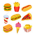 Set of fast food icons.