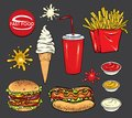 Set of fast food. Realistic hot dog, hamburger, ice cream, a glass with soda and blots of ketchup, mustard and mayonnaise. Royalty Free Stock Photo