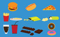 Set of fastfood junk food and snack vectors many Stock Images