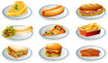 Set of fastfood on plates Royalty Free Stock Photo