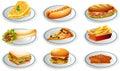 Set of fastfood on plates