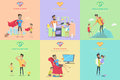 Set of Fatherhood Theme Concept illustrations. Royalty Free Stock Photo