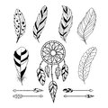 Set of feathers, arrows and dream catcher.